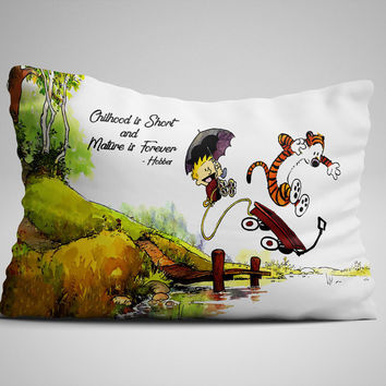 "Calvin And Hobbes Quotes Edition Zippered Pillow Case 16""x 24"" - Two sides cover"
