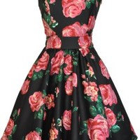 Black & Pink Rose Tea Dress