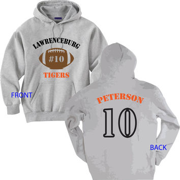 Football Mom Shirt.  Personalized with Your School, Mascot, Colors, Player's Name and Number.  White or Gray Hoodie Sweatshirt.