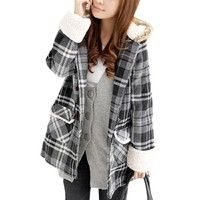 Allegra K Women Single Breasted White Black Plaids Pattern Hooded Trench Coat S