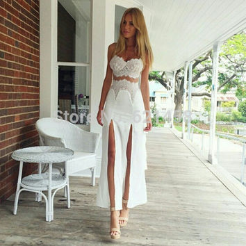2017 Women's Latest Summer High Fork White Lace Patchwork Two-Pieces Dresses Set Fashion Sexy Party Dress