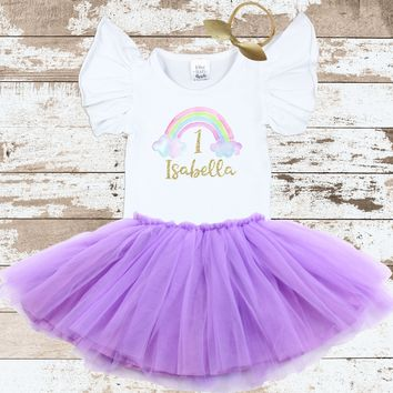 Personalized Rainbow Flutter Tutu Outfit