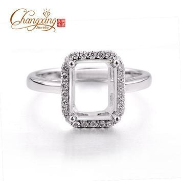 7x9mm Emerald Cut Real 14k Gold Pave Full Cut Diamonds Semi Mount Ring Settings
