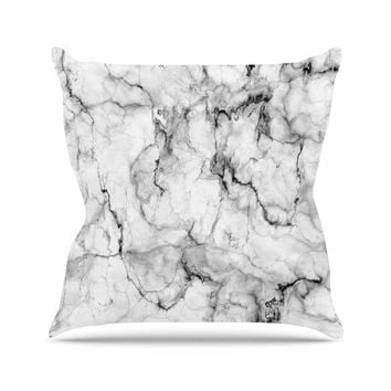 "Chelsea Victoria ""Marble No 2 "" Black Modern Outdoor Throw Pillow"