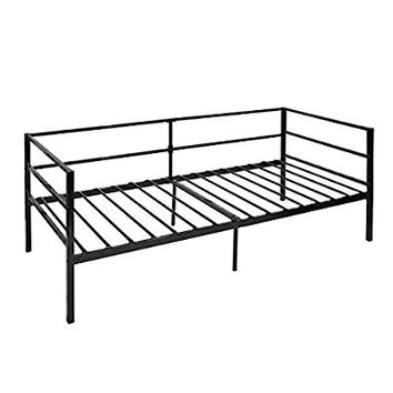 GreenForest Daybed Frame Twin, Steel Slats Platform Strong Support, Box Spring Mattress Replacement, Metal Day Bed Frame Foundation With Headboard For Living Guest Room, Black