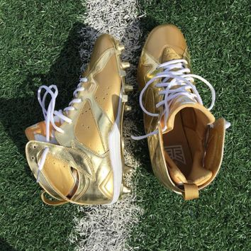 [Free Shipping ]Air Jordan 7 Gold Cleats Sneaker
