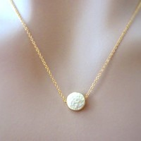 Gold karma necklace, circle, textured hammered karma, round necklace