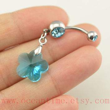 bellyring,belly button jewelry,crystal flower belly button rings,blue navel ring,piercing belly ring,friendship piercing bellyring,BFF gift