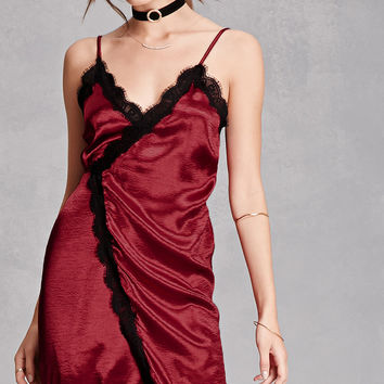 Reverse Lace-Trim Slip Dress