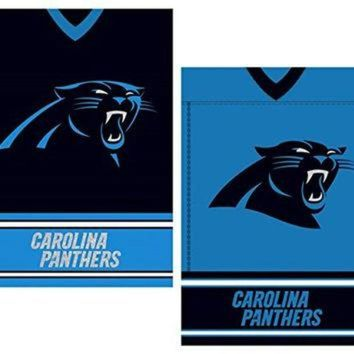 PEAPYD9 NFL Licensed Carolina Panthers Outdoor Decorative Suede 12.5' x 18' Dual Sided Team Je