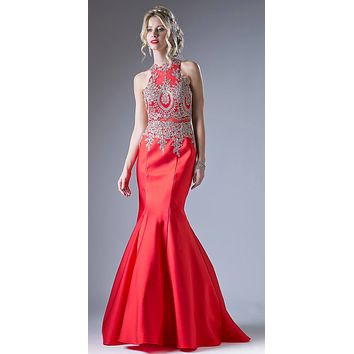Embroidered Bodice Mermaid Prom Gown Cut Out Back Red