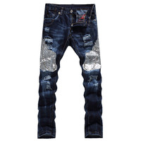 Men's fashion eagle wing embroidered denim pants Male casual hole ripped jeans Slim straight trousers Free shipping