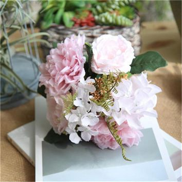 Artificial Fake Flowers Dahlia Bouquet Floral Wedding Bouquet Party Home Decor