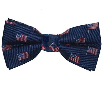 American Flag Bow Tie - Navy, Woven Silk, Pre-Tied for Kids
