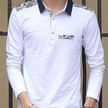 Floral Print Turn-Down Collar Long Sleeve Polo T-Shirt