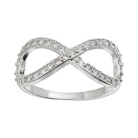 Cubic Zirconia Silver-Plated Infinity Ring (White)