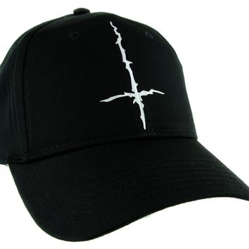 Black Metal Style Inverted Cross Hat Baseball Cap Unholy Evil Alternative Clothing Snapback
