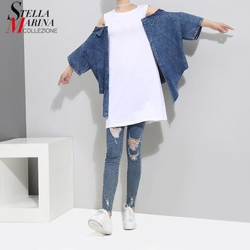2018 Korean Style Women Summer Tee Top Blue Black Denim Long Sleeve Shoulder Open Girls Stylish Unique Wear Cotton T-shirt 7093