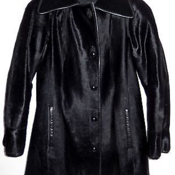 Black Pony Fur Coat Jacket Fuhrman's of Bevery HIlls Leather Trim 1970s