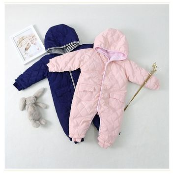 Myudi - Warm Baby One-Piece Romper Boy Girl's Coat Newborn Solid Color Cotton Padded Thick Bodysuit Hooded Toddler Clothing