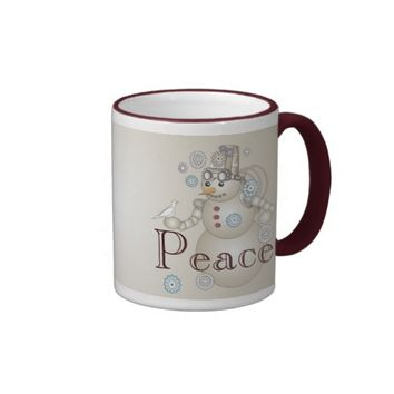 Peace - White Dove and Steam-punk Snowman Ringer Coffee Mug