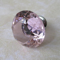 Pink Glass Knobs Diamond Cut / Dresser Drawer Knobs Pulls Handle / Modern Crystal Drawer Pull Handles French Country Cabinet Hardware