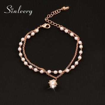 SINLEERY Sweet Simulated Pearl Bracelets With Crystal Pendant Rose/White Gold Color Double Layer Chain Bracelet For Women SL398
