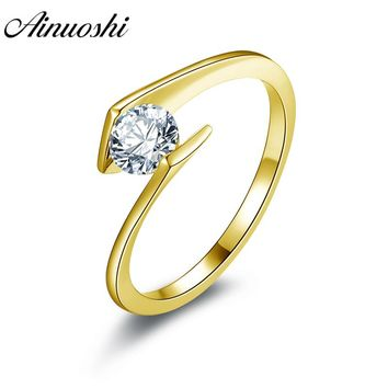 AINUOSHI 10K Solid Yellow Gold Women Wedding Ring Solitaire Round Cut Sona Simulated Diamond Jewelry Twisted Engagement Rings