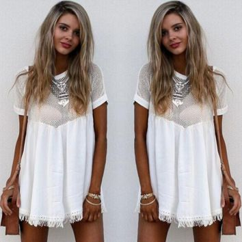 Hollow out tassel dress with short sleeves