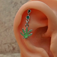 Pot Leaf Fire Opal Green Cartilage Helix Earring Body Jewelry Upper Ear Jewelry 16ga