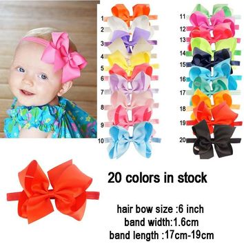 "20pcs/lot Headband Elastic Bands 6"" Grosgrain Ribbon Hair Bows"