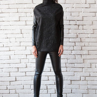Extravagant Black Top with Leather Sleeves/Loose Turtle Neck Blouse/Black Casual Top/Neoprene Polo Top/Oversize Black Shirt/Floral Top