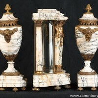 Canonbury - Antique French Empire Marble Clock Set Garniture Urns Atlas