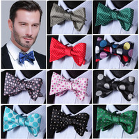 Bow Tie COTTON BLEND 100%Silk Woven Men Classic Wedding Butterfly Self Bow Tie BowTie C4