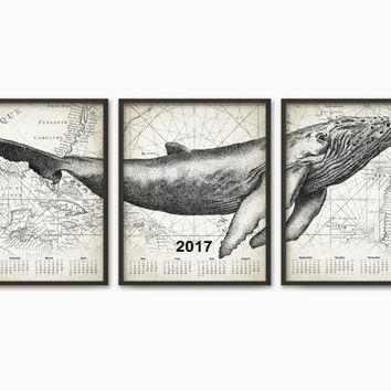 Humpback Whale Calendar 2017 Triptych - 2017 Whale Calendar - Humpback Whale - Whale Calendar 2017 - Marine Biology Calendar 2017 Set Of 3