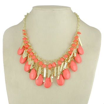 teardrop necklace in Coral, kate spade inspired necklace,  J Crew Inspired Necklace, coral statement necklace, party necklace
