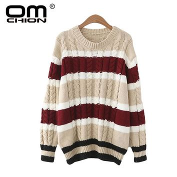 OMCHION Women Sweaters And Pullovers 2017 Autumn O Neck Striped Knitted Sweaters Casual Twist Jumper Brand Pull Femme LMY77