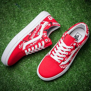 Trendsetter Vans x Supreme Old Skool Canvas Flat Sneakers Sport Shoes