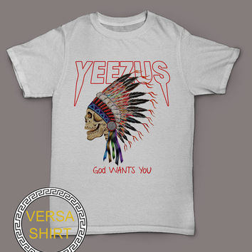 Yeezus god wants you t-shirt kanye west shirt indian skeleton tee black and white top VSY-2