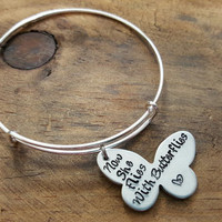Now She Flies With Butterflies Bangle Bracelet, Memory Bracelet, Personalized Bracelet, Remembrance Bangle, Gift for loss of a loved one