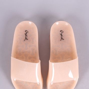 Qupid Glitter Jelly Open Toe Slide Sandal
