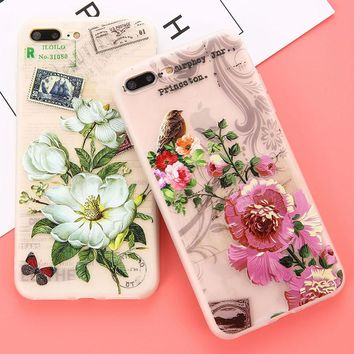 Phone Cases For iphone 7 6 6s Plus Case Fashion 3D DIY Relief Flower Lace Floral Cover Soft TPU Silicon Painting Rose Capa Coque