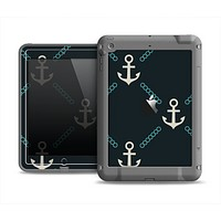 The Blue & Teal Vintage Solid Color Anchor Linked Apple iPad Air LifeProof Fre Case Skin Set