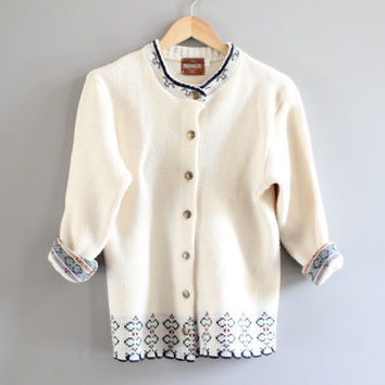 Ivory cream slouchy loose fit gold button knitted cardigan small to large