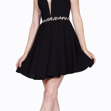 Black Short Cocktail Dress Embellished Waist Sheer Inset V-Neck