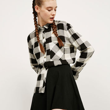 BSK side button checked shirt - Shirts - Bershka Germany