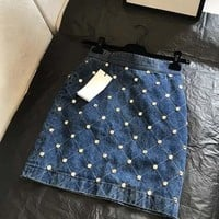 GUCCI Denim Skirt With Crystals