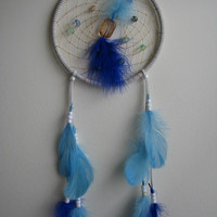 White Suede Dreamcatcher, authentic Native Dream catcher, 7 inch diameter, blue feathers, for the home