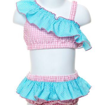 Pink Gingham Turquoise Dot 2-piece Swimsuit