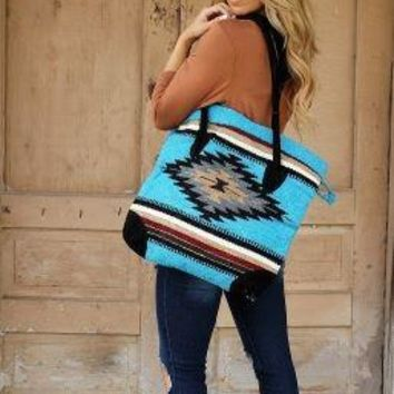 Handmade Woven Serape Large Tote, with pockets and leather straps